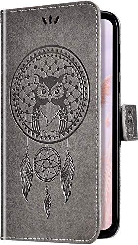 Uposao Cover Compatibile con Samsung Galaxy S10 5G Goffratura Modello Feather Campanula Dreamcatcher Flip Cover Portafoglio PU Pelle Protective Wallet Stand Custodia Cover,Grigio