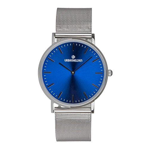 URBANHELDEN Armbanduhr Sunset mit Mesharmband - Edelstahl Saphirglas Schweizer Quarzwerk 38 mm - Universal Damen u. Herren Uhr Metall Silber Blau