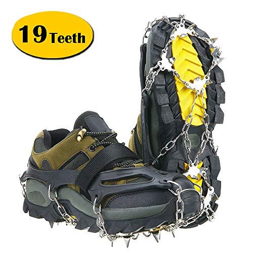 Unizooke Ice Tacchetti per Donne Uomini, 19Spikes Neve Ghiaccio ramponi per Walking, Jogging, Arrampicata e Trekking, Cruz V2 Fresh Foam, X-Large