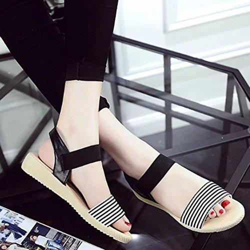 Transer® Damen Sandalen Niedrige Ferse Komfortabel PU Leater+Gummi Beige Schwarz Sandalen (Bitte achten Sie auf die Größentabelle. Bitte eine Nummer größer bestellen) Schwarz