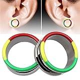 Bouchons d'oreille en pierre Couleur de l'huile Bague Couleur Boucles d'oreilles Hypoallergénique En Acier Inoxydable Exquis Bouchon D'oreille Plug Instrument De Mesure Expander Ear Piercing tunnels à