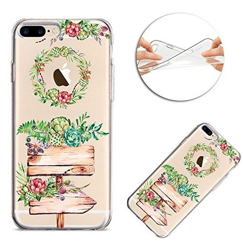 Housse iPhone 7 Plus / iPhone 8 Plus TPU Coque Case, Sunroyal Ultra mince Ultra léger TPU 3D Pignons de Pin Guirlande Pattern Design de avec Clear Colorful Motif Rouge et Vert Fleurs Arbre de fées Bum Motif 04