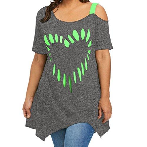 VEMOW Heißer Sommer Große Größe Frauen Damen Casual Liebe Druck Shirt Kurzarm Freizeithemd Tops Bluse (Grau, 52 DE / 4XL CN)