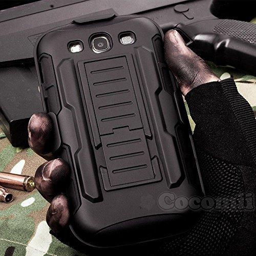 Cocomii Robot Armor Galaxy S3 Custodia NUOVO [Robusto] Superiore Fondina Clip Da Cintura Cavalletto Antiurto Copertura [Militare Difensore] Tutto Il Corpo Case Paraurti for Samsung Galaxy S3 (R.Black)