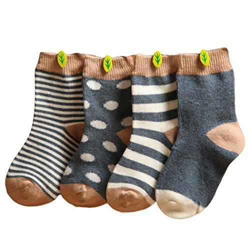 Happy Cherry Happy Cherry Vintage Baby Jungen 4 Paar Socken Set Weich Baumwolle Süß und Lieblich - Dunkelblau Gepunkt Gestreift 0-6 Monate