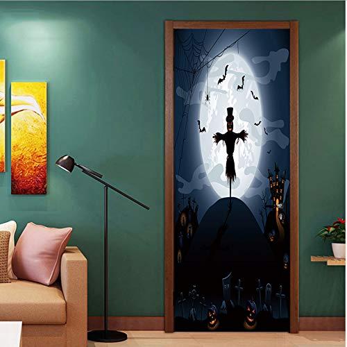 Fqz93in Aufkleber Der Tür 3D Happy Halloween Einzigartige Hexe Fledermaus Tür Aufkleber Tapete Wandaufkleber Dekoration Abziehbild Dekor
