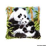 Vervaco Pandas Knüpfkissen mit Knüpfhaken, Baumwolle, Mehrfarbig, 40 x 40 x 1...