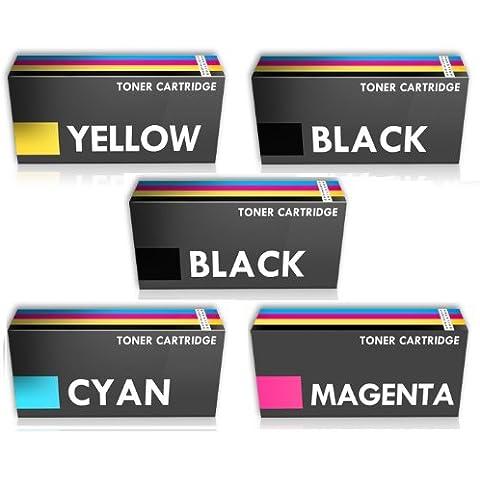 Prestige Cartridge TN-241/TN-245 - Pack de 5 cartuchos de tóner láser para Brother DCP-9020CDW/MFC-9330CDW/MFC-9340CDW, tricolor y negro