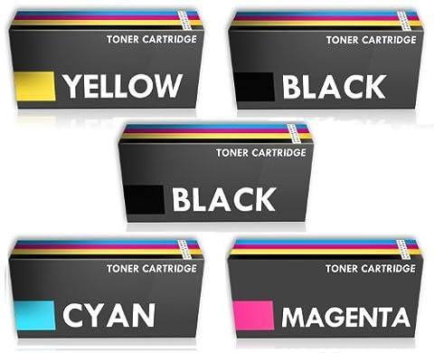 COMBO PACK - 5 Compatible Cartouches de Toner pour Imprimante Laser Dell H625cdw, H825cdw, S2825cdn - UN ENSEMBLE PLUS UN AUTRE NOIR
