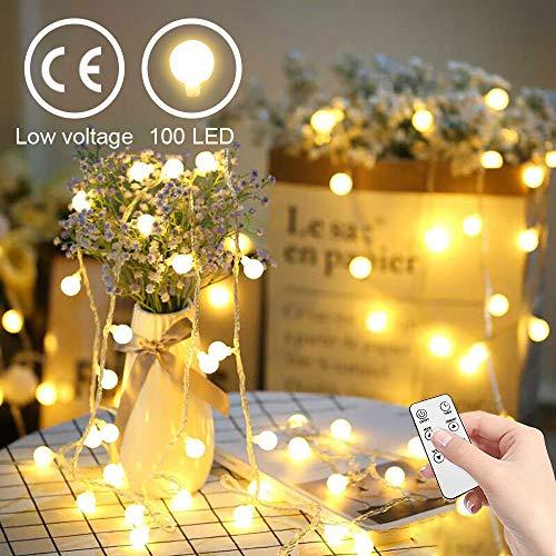 Catena luminosa, yinuo light luci natalizie da esterno ed interno, globo bianco caldo, 15m, luci stringa impermeabili decorative con 100 led, trasformatore a bassa tensione 31v, espandibile