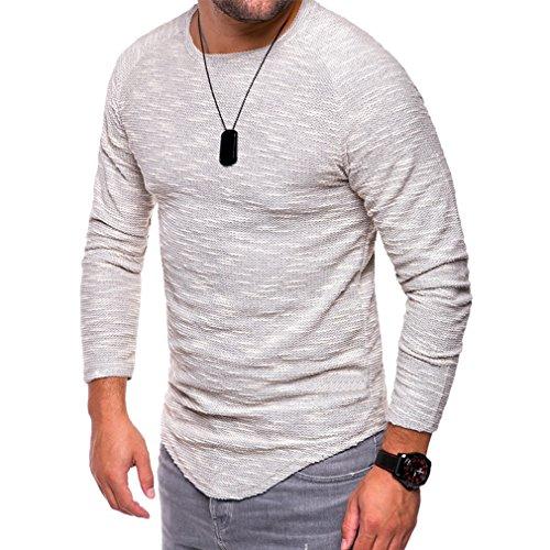 Yinew Herren Pullover Shirt Herbst und Winter Rundhals Schlankes Langärmeliges Herren T-Shirt Weiß S