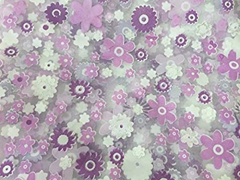 YanHoo Print Floral Voile Door Sheer Window Curtains Room Curtain Divider 100X200CM (Purple)