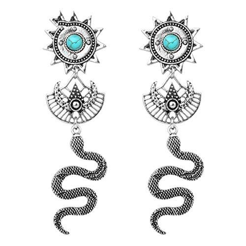 Beautiful jewelry Vintage Tier Schlange Ohrringe Für Frauen Antike Silberne Farbe Ethnische Lange Quaste Ohrringe Schmuck