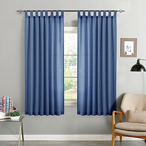 CKNY 2 Stücke Vorhänge Gardine halb transparent Lässige Vorhang Wohnzimmer mit Schlaufen, 175 x 140cm (H x B),2er-Set Energiespar & Wärmeisolierend, Dunkel - Wohnzimmer Für Blau Vorhänge
