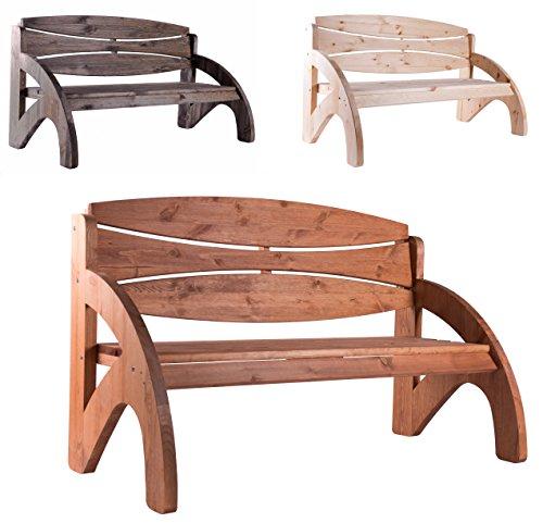 Gartenbank 3 Sitzer von BOMI | Holzbank Kirschbaum wetterfest | Parkbank 140cm für Garten | Ideale Holz Sitzbank | Balkonbank Hochzeitsbank Holzgartenbank Terrassenmöbel | Holzmöbel