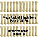 Petlicious & More Rawhide 3 Inch Pressed Dog Bones - Pack of 36