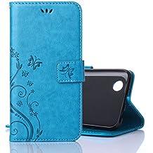 Funda LG K4 2017, Cáscara LG K4 2017, Alfort 2 en 1 Casco de Protección Relieve Carcasa PU Cuero Sintético + 1 raíz horca Cierre Magnético Carcasa del teléfono con una función de soporte y la cartera Material de la PU de alta calidad Suave Mariposa y Flor ( Azul )