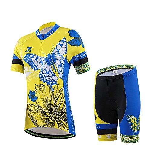 Hebike Butterfly gelb und blau Damen Fahrrad Short Sleeve Jersey 3D Gepolsterte Shorts Set Outfit/Fahrrad Jersey Lätzchen kurz Set, Damen, Jersey + Pants Butterfly Pant Set