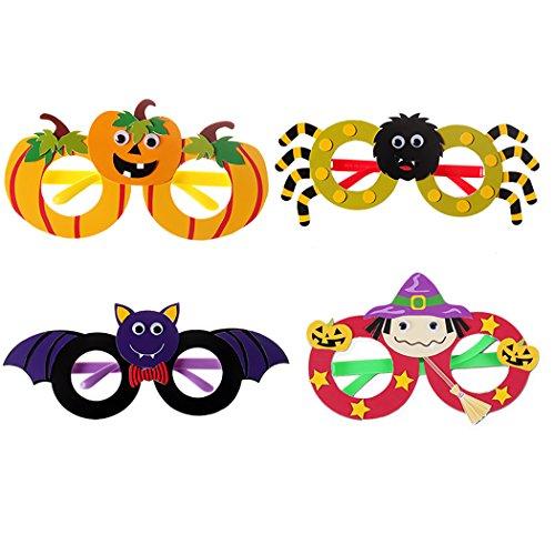 Funpa 4 Paar Halloween Party Brille DIY Kürbis Fledermaus Spinne Hexe Decor Lustige Gläser Kostüm Gläser für (Diy Kinder Fledermaus Kostüm)