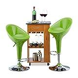 Relaxdays Barhocker 2er Set, höhenverstellbar, drehbar, bis 120 kg, mit Lehne, Barstuhl, HxBxT: 101 x 45 x 40 cm, grün