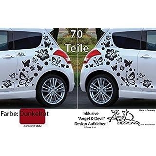 A&D design Deutschland XL Set - Autoaufkleber - Hibiskus Blumen & Schmetterlinge - 70 Teilig (Dunkelrot)