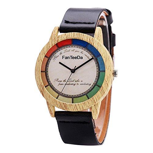 d0353391cae2 wooden wrist watches. Women Colorful Wooden Quartz Bracelet Leather Strap  Wristwatch(Black)