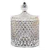 DRULINE Bonboniere Glasschale Kristallschale mit Deckel Bonbonglas Glassdose Schale 12,5 cm