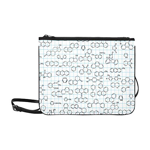 WYYWCY Chemistry Science Formula Pattern Benutzerdefinierte hochwertige Nylon Slim Clutch Bag Cross-Body Bag Umhängetasche -