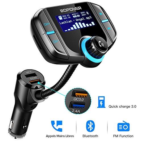 Transmetteur FM Bluetooth, ABOX Kit de Voiture Sans Fil Appel Mains Libres, Chargeur avec Double USB Ports QC3.0 & 2.4A et Écran de 1.7 Pouces, 3.5mm Port Audio, Fente pour Carte TF pour Smartphone