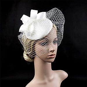 Mmamma Weinlese-Ineinander greifen-Kopfschmuck-Bankett-Jockey-Hut-Hut-Zusatz-Tiara-Haar-Zusatz-Brauthut Headwear Stirnband-Hochzeits-Ineinander greifen-Federn-Tee-Party-Haar-Klipp