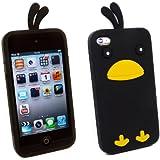 Kit Me Out FR Coque aspect velouté silicone pour Apple iPod Touch 4 (4e génération) - noir motif poulet mignon