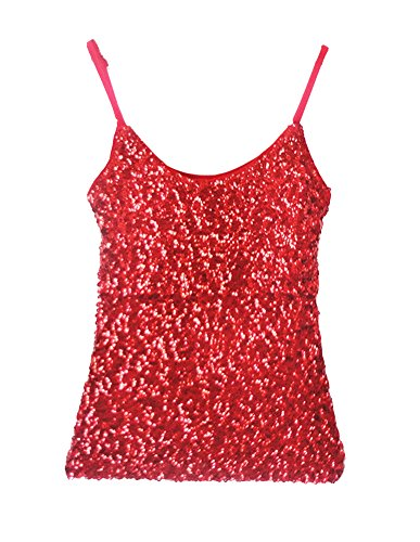 Femmes Débardeur Paillettes Sans Manches Slim Fit T-shirt Haut Tops Décontracté Rouge