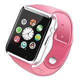 Limin smart watch adult SIM Handyanruf Bluetooth Schrittzähler Geburtstagsgeschenk Schlafüberwachung A1 (schwarz, blau, weiß, pink) (Color : Pink)