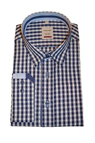 Haupt Herren Modern Fit Baumwoll-Hemd, Dual Karo Blau, XLarge