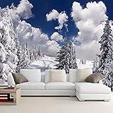Ohcde Dheark Foto Personalizzate Sfondo Inverno Neve Foresta Paesaggio Carta Murale Decorazioni A Parete Soggiorno Divano Sfondo Tv Murale De Pared 3D 150cmX105cm(59.1 by 41.3 in)