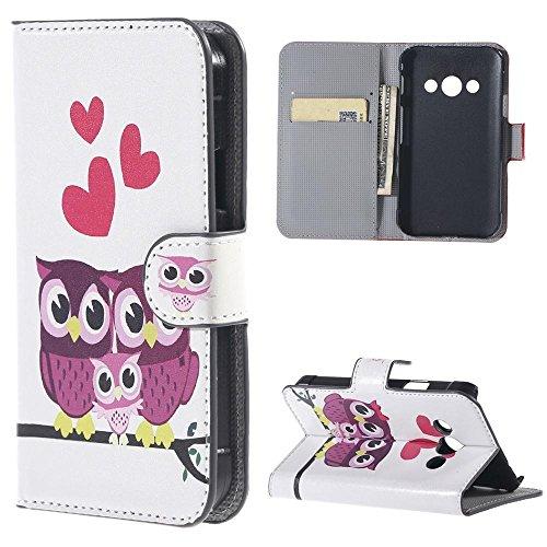 Galaxy Xcover 3 Schutzhülle ,Premium PU Leder Handy Hülle für Samsung Galaxy Xcover 3 III (SM-G388F) Case Cover Brieftasche Schutzhülle mit Ständerfunktion Kartenfächer (Drei Eulen)