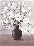 Artland Qualitätsbilder I Wandbilder selbstklebende Wandfolie 45 x 60 cm Botanik Blumen Magnolie Malerei Grau A1NN Magnolien in Vase I