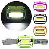 Colorful LED Stirnlampe LED Kopflampe COB LED Kopf Lampe, 3W Scheinwerfer 600 Lumen Taschenlampe, Einstellbarer Winkel,für Camping Joggen Campinglampe Aussenleuchte (Grün)