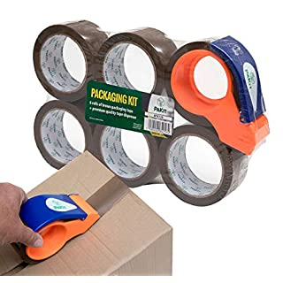 6 Heavy Duty Brown Packing Shipping Tape | 50micron 48MM X66M | 1 Easy Dispenser