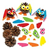 Baker Ross Kits de décorations en Forme de hiboux sur Pommes de pin Qui permettront aux Enfants de fabriquer, décorer et Exposer Leurs créations d'automne (Lot de 6).