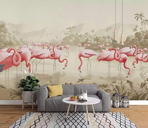 Papel Pintado Pared 3D Dibujado A Mano Flores Y Pájaros Flamenco Idílico Retro Fotomurales Decorativos Pared