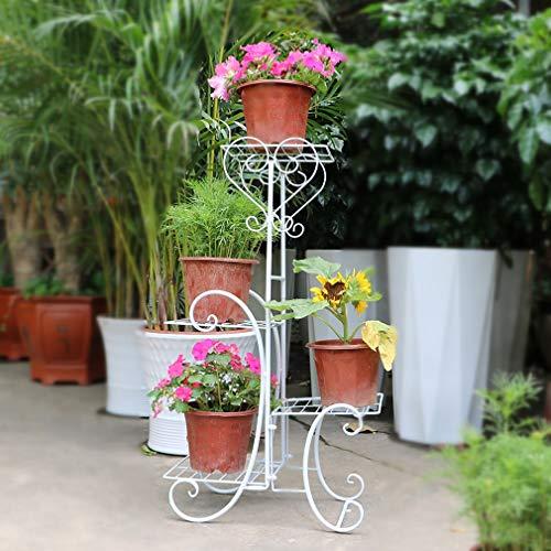 Malayas Estanteria para Macetas, Soporte Macetas Plantas Metálico, Escalera Estantería Decorativas de Plantas Flores para Decoración Exterior Interior Jardín Baño de 4 Pisos