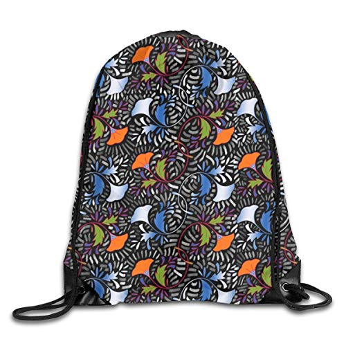 African Tapestry (Drawstring Backpack Bags African Flower Tapestry Sport Athletic Gym Sackpack for Men Women)