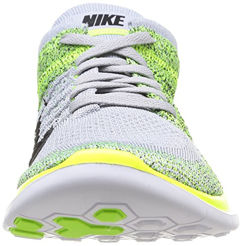 Nike Free 4.0 Flyknit, Chaussures de Running Entrainement Homme Multicolore (Wolf Grey/Black Volt)