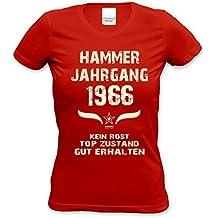 Lustiges Damen T-Shirt zum Geburtstag - Hammer Jahrgang 1966 - witziges bedrucktes Lady Hemd als Geschenk für Frauen