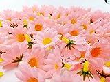 JZK 100 x künstliche blau Handwerk Gerbera Daisy Gänseblümchen Stoff Blumen Köpfe, Hochzeit Party Tisch Scatters Konfetti, DIY Scrapbook Zubehör, Einladung Karte Dekoration (rosa) - 3