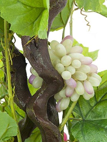 artplants – Künstlicher Rebstock mit 120 Blättern, 3 Weinreben, 160 cm – Deko Weinrebe/Kunstpflanzen Rebe