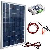ECO-WORTHY 12 V 25 Watt kits Solar: 1 pc 25 W de generación policristalinos Panel Solar con módulo de 91,44 cm de alambre + 30 A Clips con batería de 182,88 cm Cable alargador + 3 A 12 V/24 V controlador Solar
