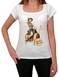 Rodeo Pin-up girl, tee shirt femme, imprimé célébrité,Blanc, t shirt femme,cadeau