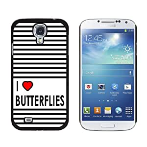 Graphics and More I Love Heart Butterflies Snap-On Hard Protective Case for Samsung Galaxy S4 - Non-Retail Packaging - Black